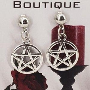 Dark Rose Boutique Jewelry - Silver Pentagram on Pierced Posts
